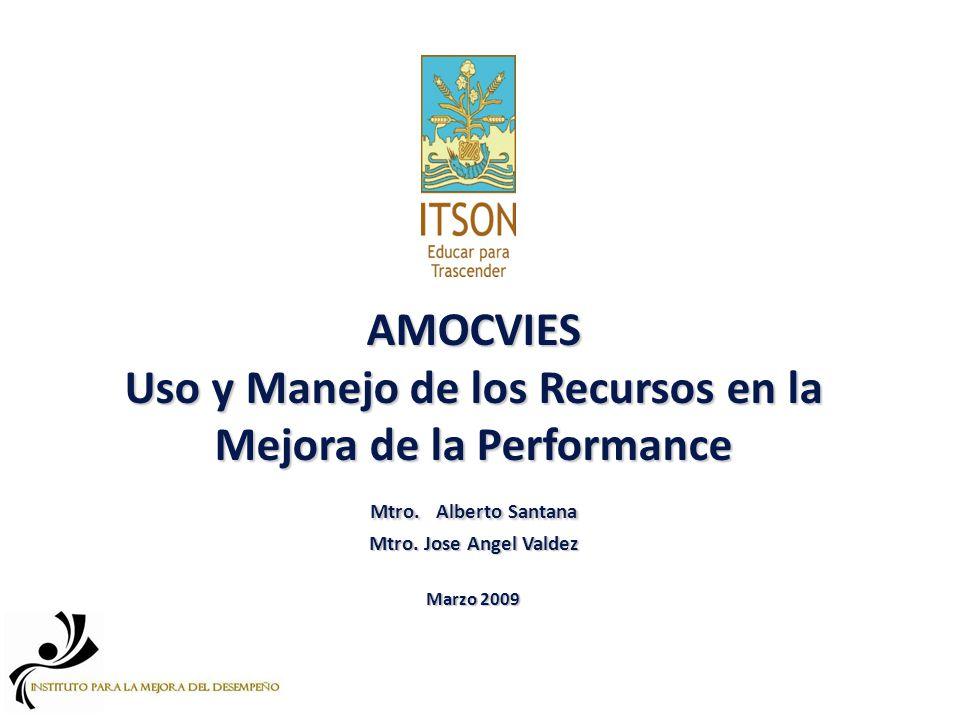 AMOCVIES Uso y Manejo de los Recursos en la Mejora de la Performance Mtro.