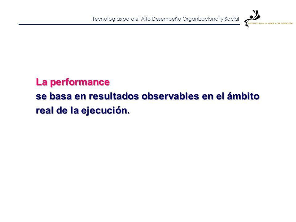 La performance se basa en resultados observables en el ámbito real de la ejecución.