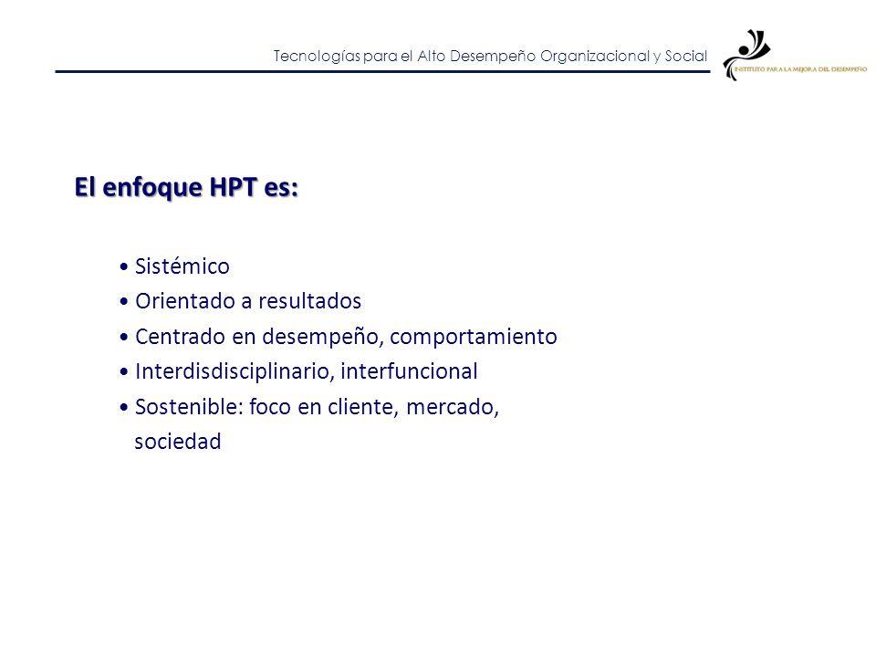 El enfoque HPT es: Sistémico Orientado a resultados