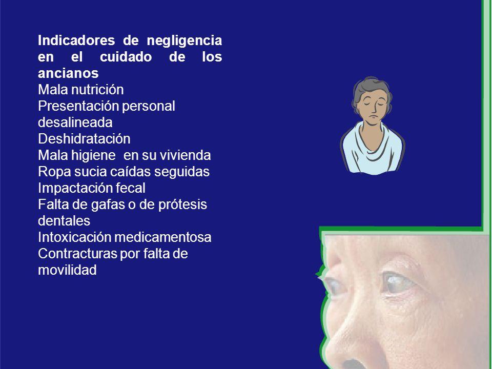 Indicadores de negligencia en el cuidado de los ancianos