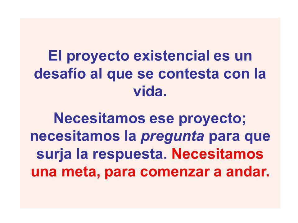 El proyecto existencial es un desafío al que se contesta con la vida.