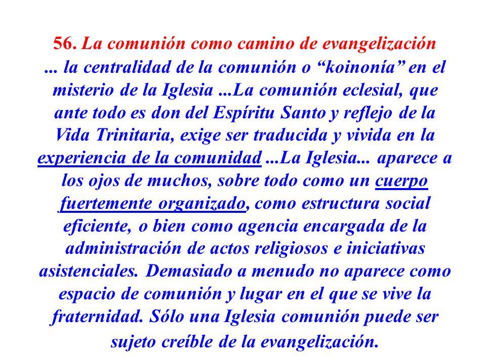 56. La comunión como camino de evangelización