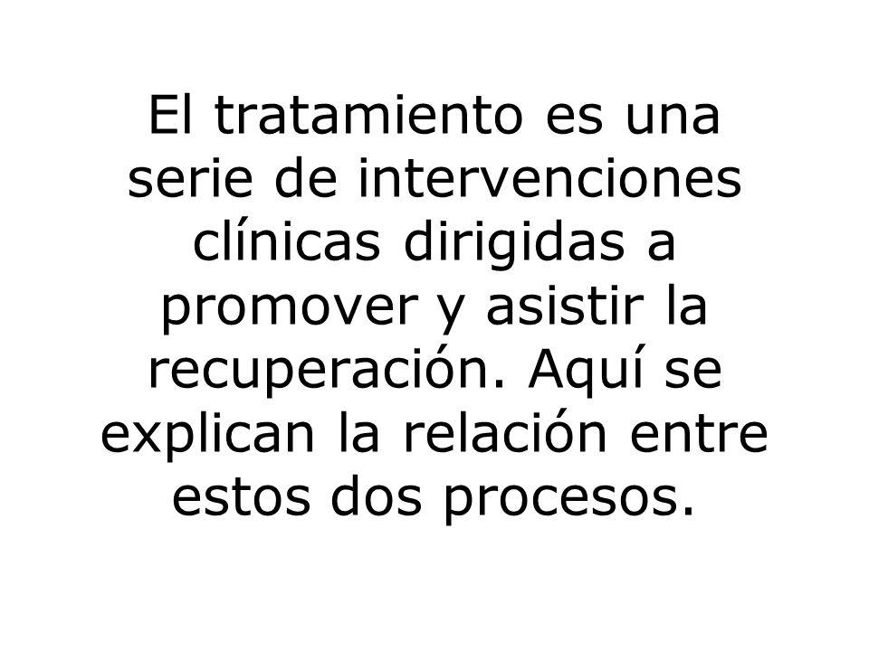 El tratamiento es una serie de intervenciones clínicas dirigidas a promover y asistir la recuperación.