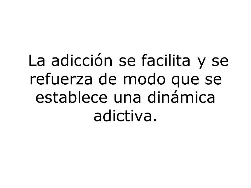 La adicción se facilita y se refuerza de modo que se establece una dinámica adictiva.