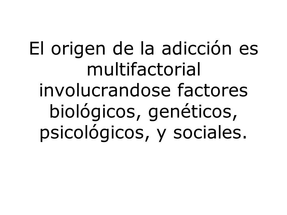 El origen de la adicción es multifactorial involucrandose factores biológicos, genéticos, psicológicos, y sociales.