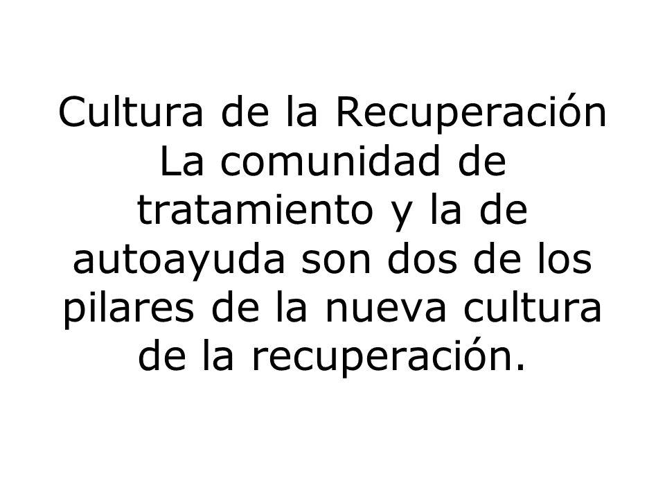 Cultura de la Recuperación La comunidad de tratamiento y la de autoayuda son dos de los pilares de la nueva cultura de la recuperación.
