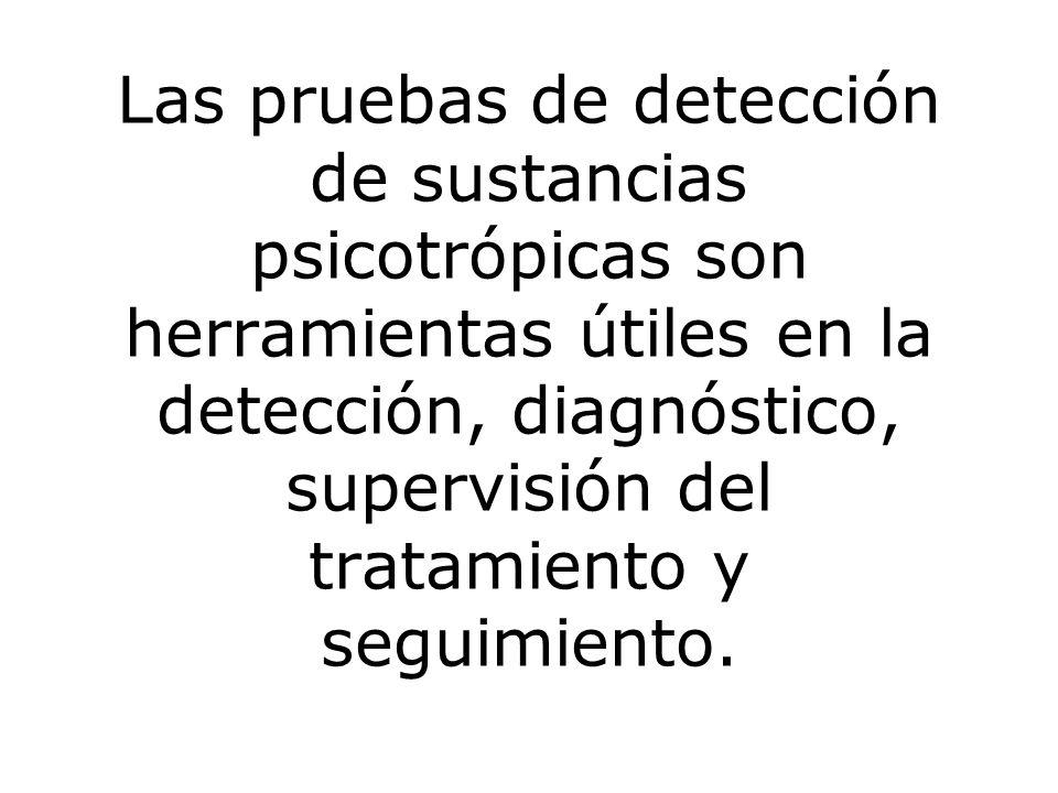 Las pruebas de detección de sustancias psicotrópicas son herramientas útiles en la detección, diagnóstico, supervisión del tratamiento y seguimiento.