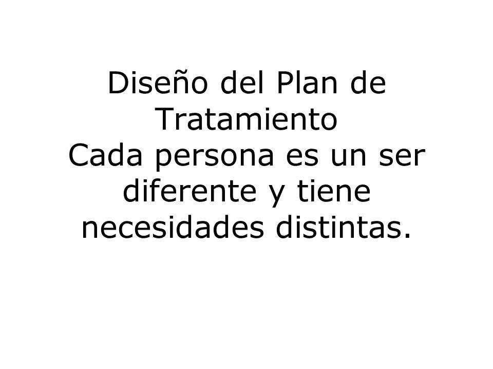 Diseño del Plan de Tratamiento Cada persona es un ser diferente y tiene necesidades distintas.