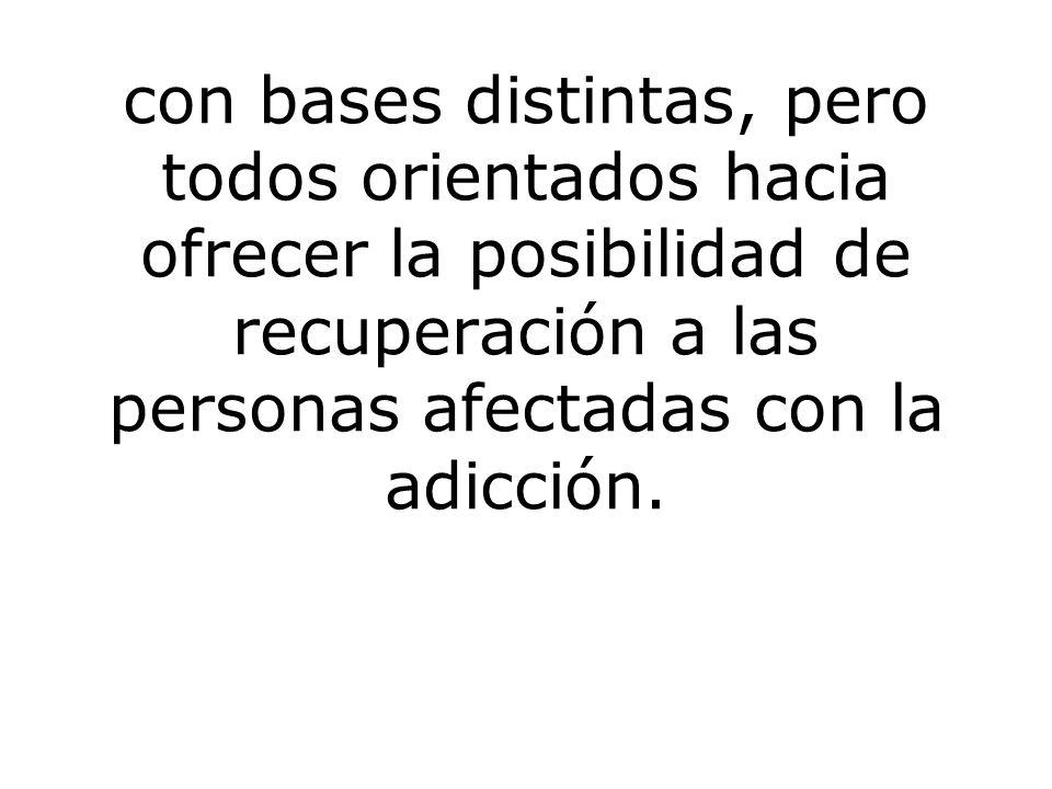 con bases distintas, pero todos orientados hacia ofrecer la posibilidad de recuperación a las personas afectadas con la adicción.