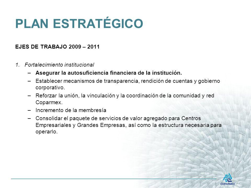 PLAN ESTRATÉGICO EJES DE TRABAJO 2009 – 2011