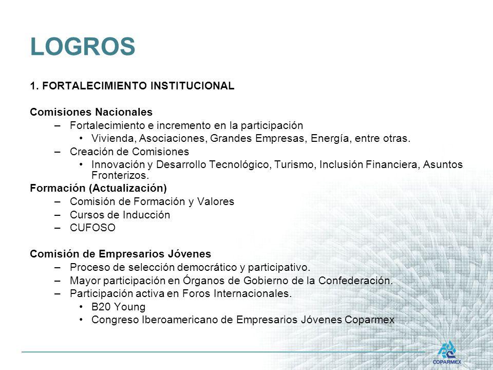 LOGROS 1. FORTALECIMIENTO INSTITUCIONAL Comisiones Nacionales