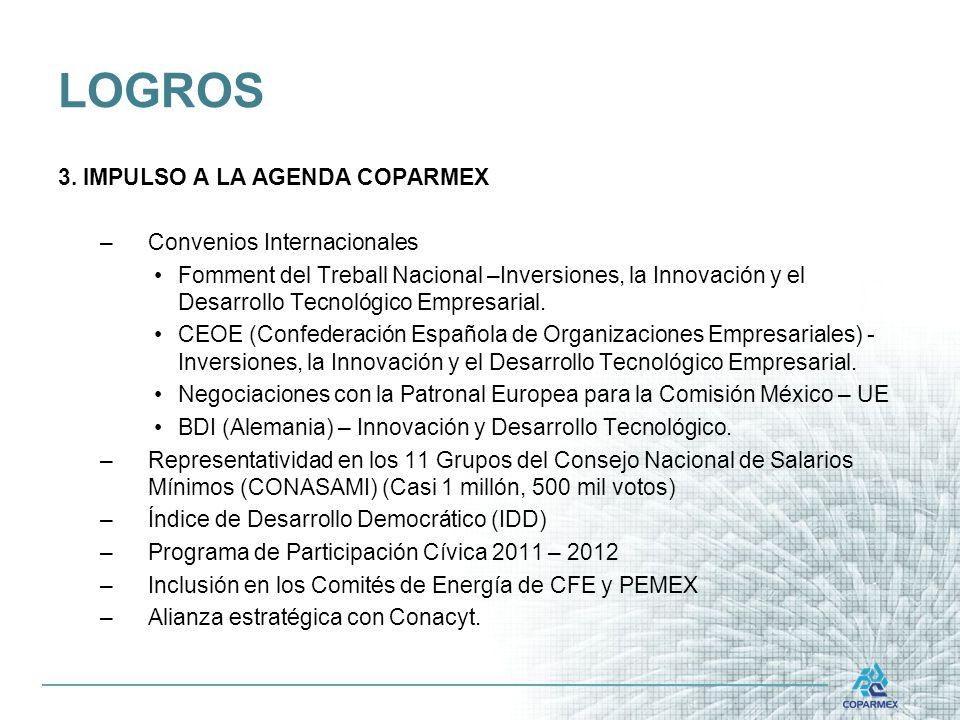 LOGROS 3. IMPULSO A LA AGENDA COPARMEX Convenios Internacionales