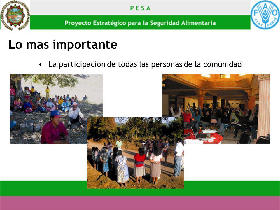 La participación de todas las personas de la comunidad