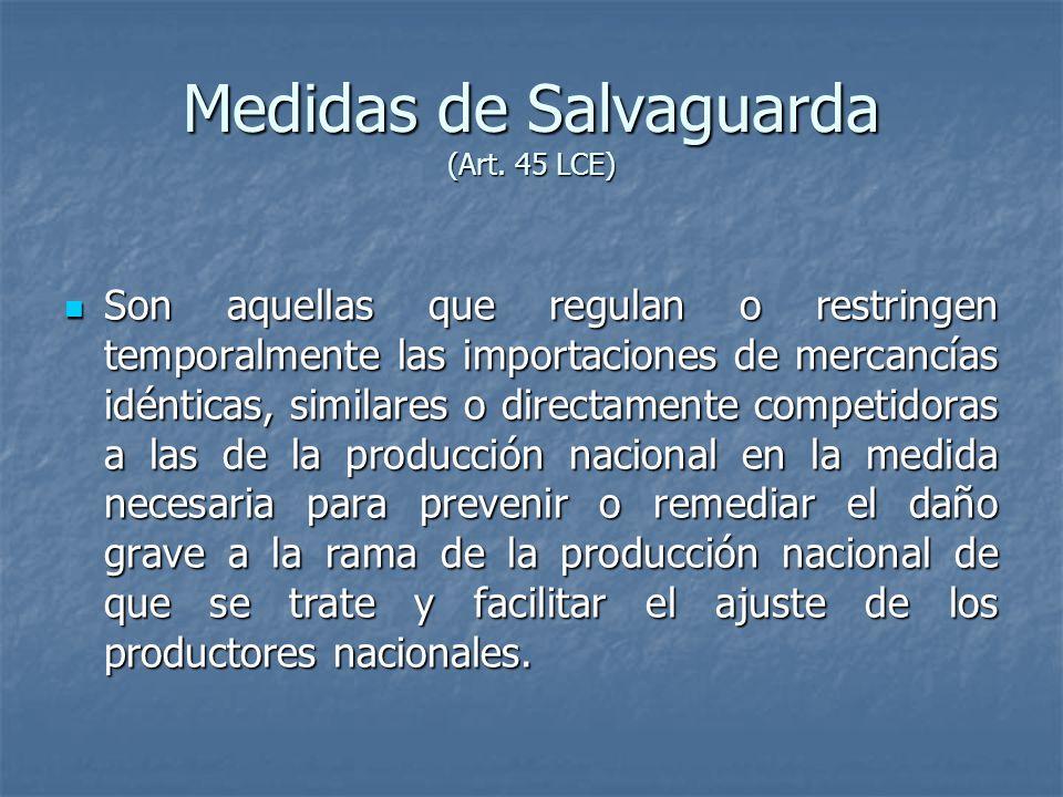 Medidas de Salvaguarda (Art. 45 LCE)
