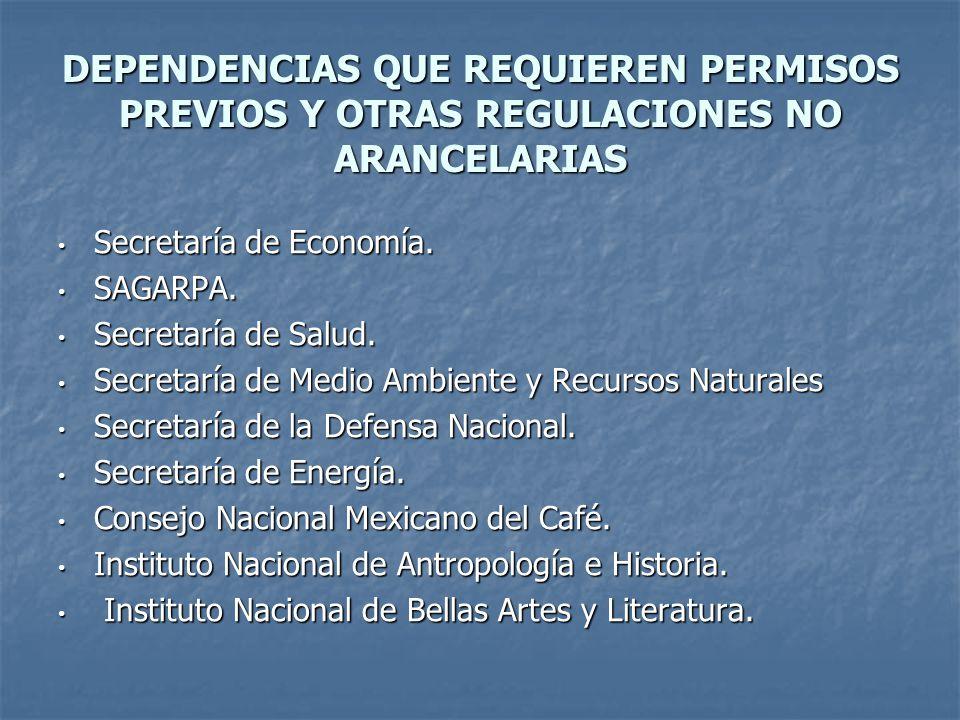 DEPENDENCIAS QUE REQUIEREN PERMISOS PREVIOS Y OTRAS REGULACIONES NO ARANCELARIAS
