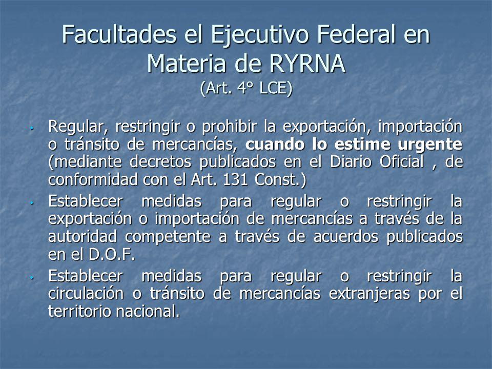 Facultades el Ejecutivo Federal en Materia de RYRNA (Art. 4° LCE)