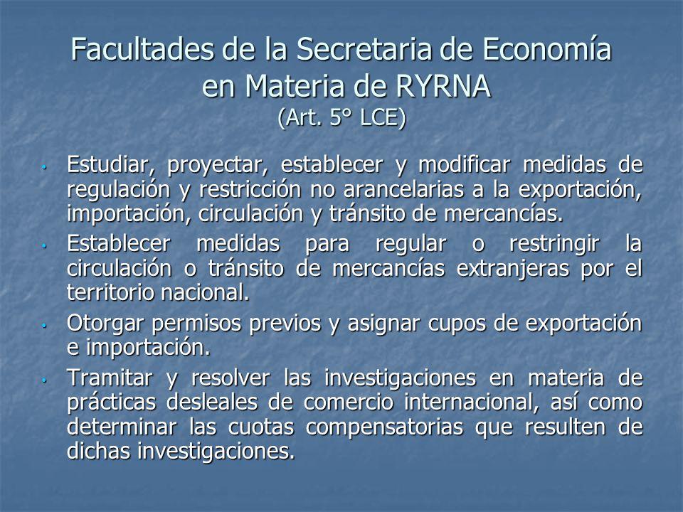 Facultades de la Secretaria de Economía en Materia de RYRNA (Art