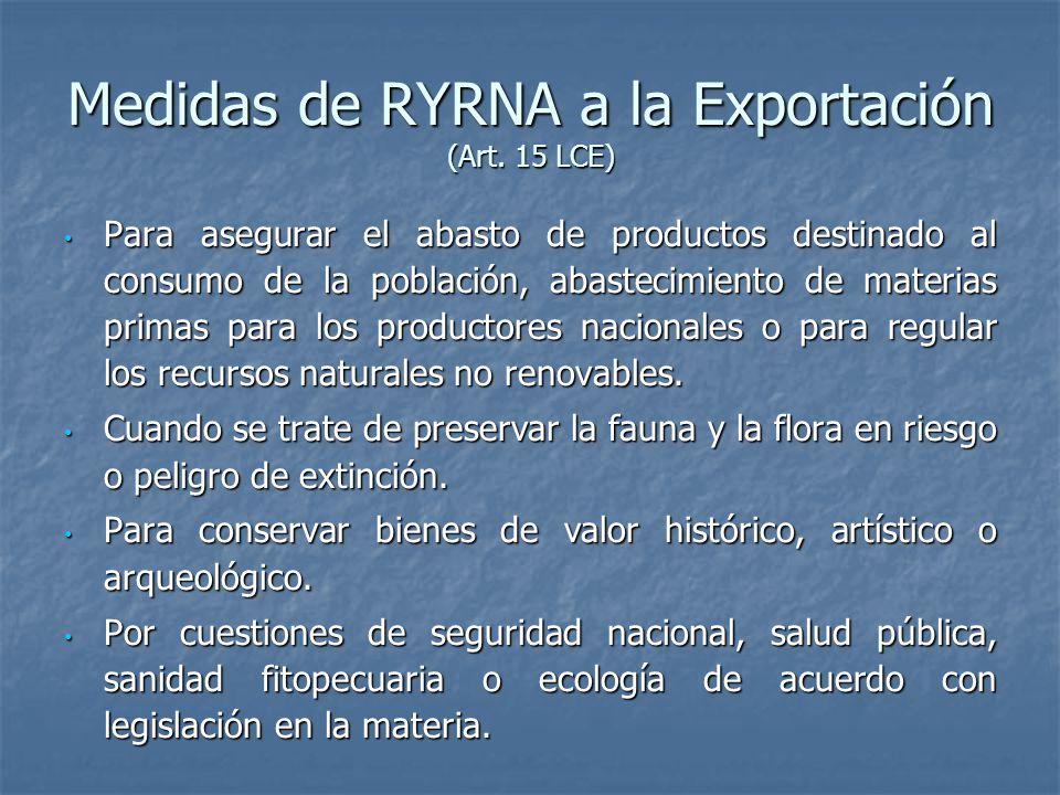 Medidas de RYRNA a la Exportación (Art. 15 LCE)