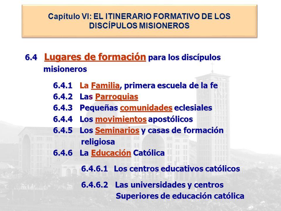 Capítulo VI: EL ITINERARIO FORMATIVO DE LOS DISCÍPULOS MISIONEROS