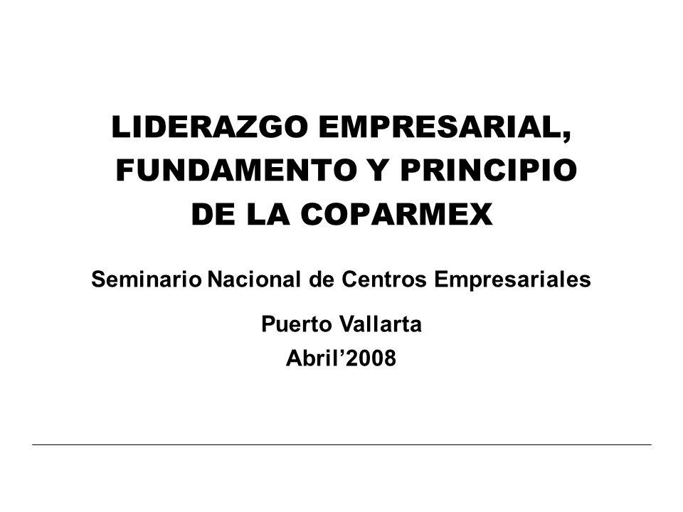LIDERAZGO EMPRESARIAL, FUNDAMENTO Y PRINCIPIO DE LA COPARMEX