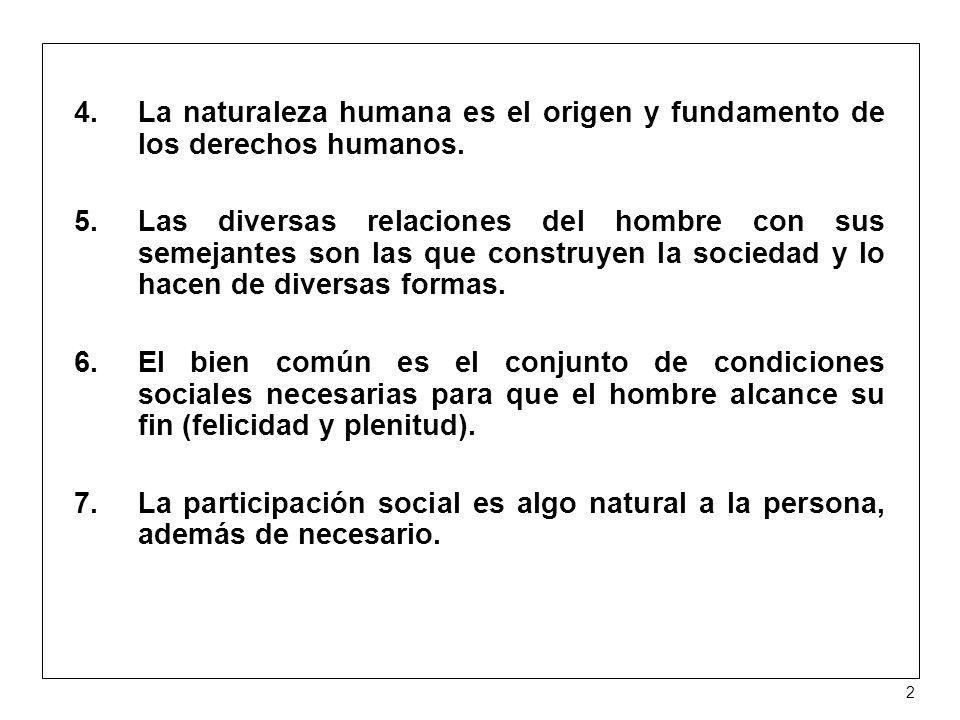 La naturaleza humana es el origen y fundamento de los derechos humanos.