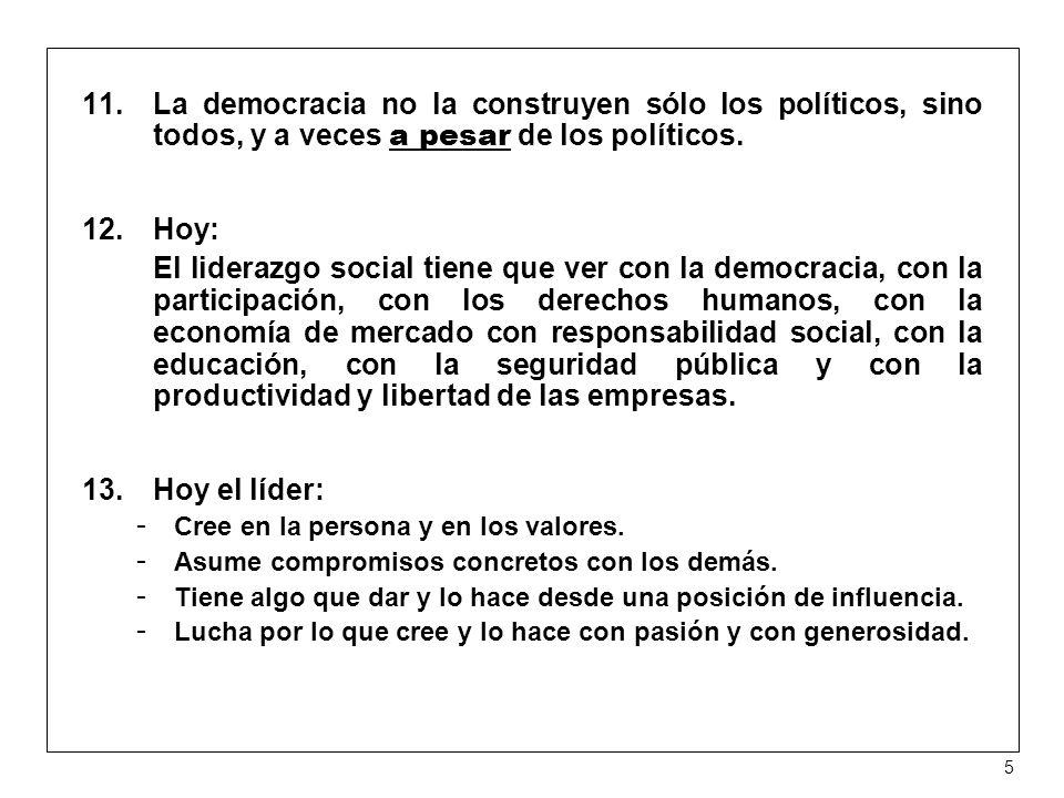 La democracia no la construyen sólo los políticos, sino todos, y a veces a pesar de los políticos.