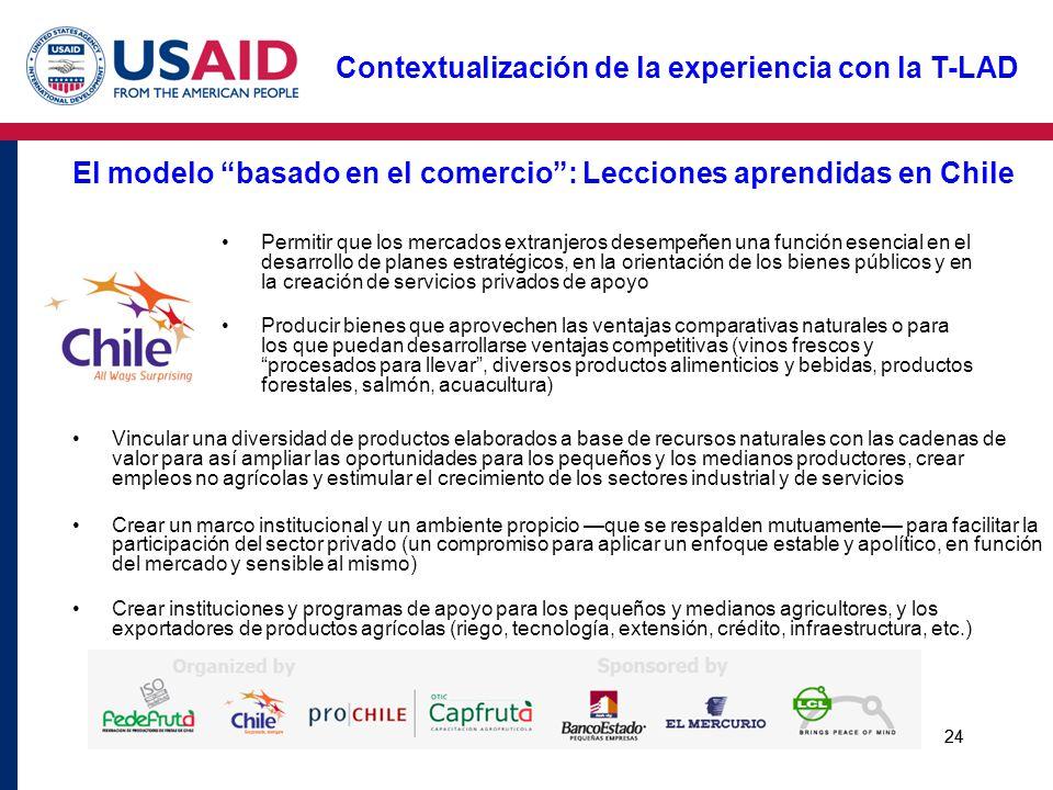 El modelo basado en el comercio : Lecciones aprendidas en Chile