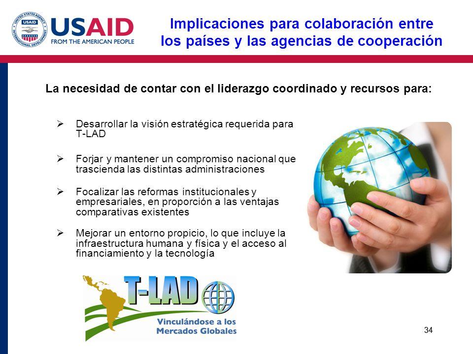 La necesidad de contar con el liderazgo coordinado y recursos para: