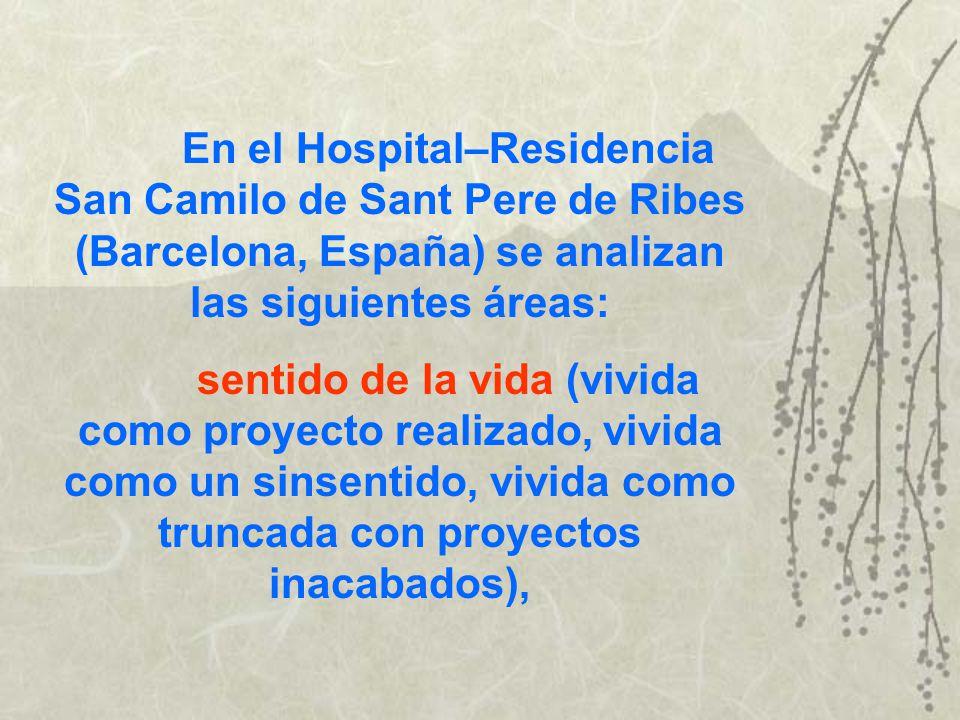 En el Hospital–Residencia San Camilo de Sant Pere de Ribes (Barcelona, España) se analizan las siguientes áreas: