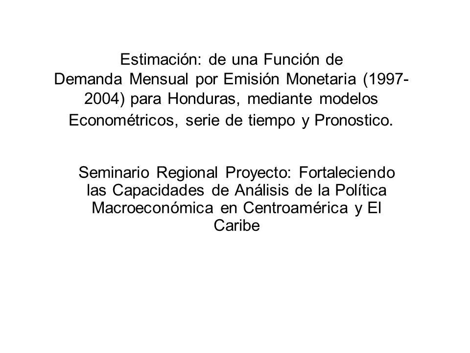 Estimación: de una Función de Demanda Mensual por Emisión Monetaria (1997-2004) para Honduras, mediante modelos Econométricos, serie de tiempo y Pronostico.