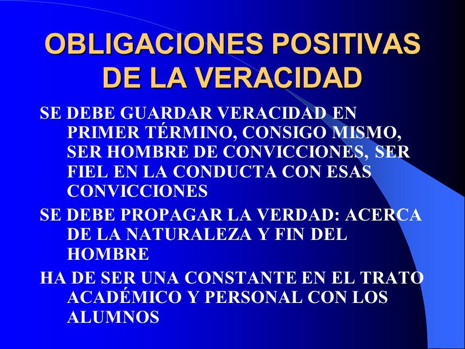 OBLIGACIONES POSITIVAS DE LA VERACIDAD