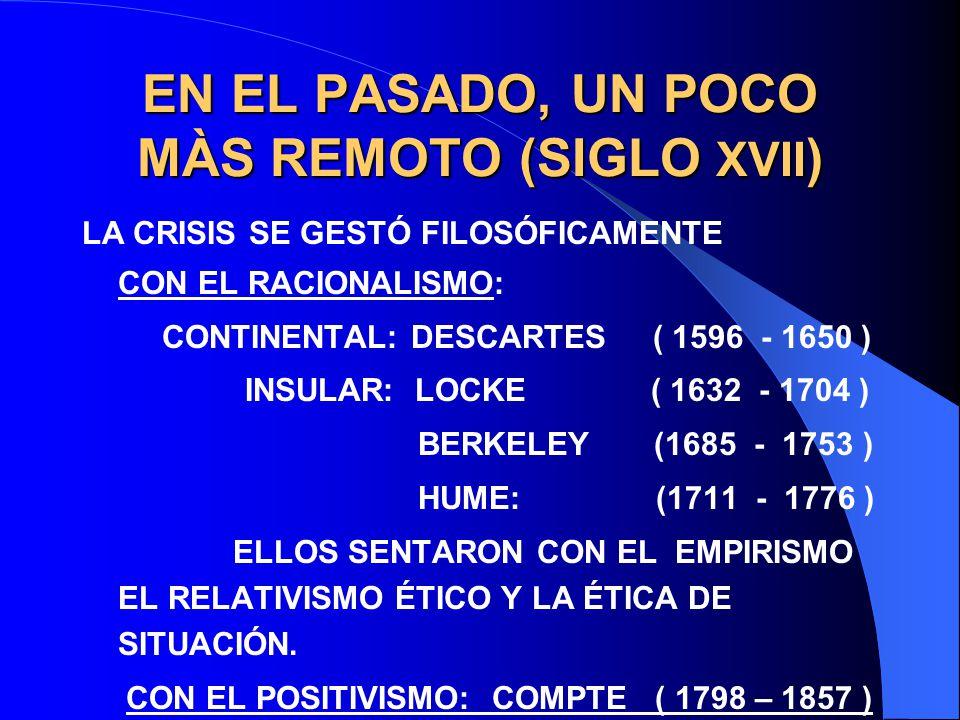 EN EL PASADO, UN POCO MÀS REMOTO (SIGLO XVII)