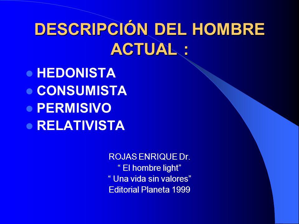 DESCRIPCIÓN DEL HOMBRE ACTUAL :