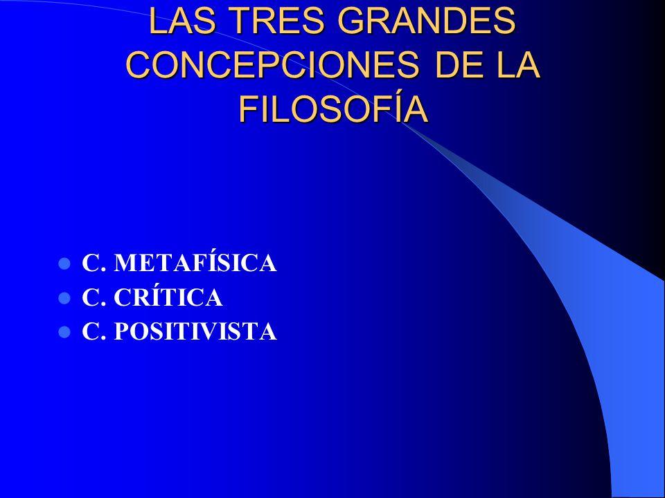 LAS TRES GRANDES CONCEPCIONES DE LA FILOSOFÍA