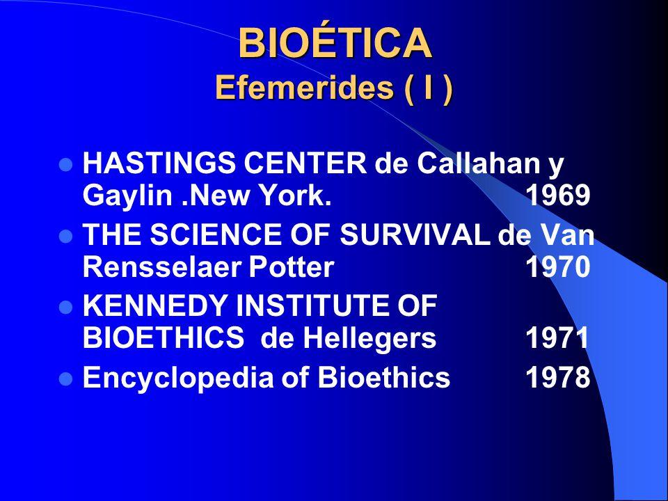 BIOÉTICA Efemerides ( I )