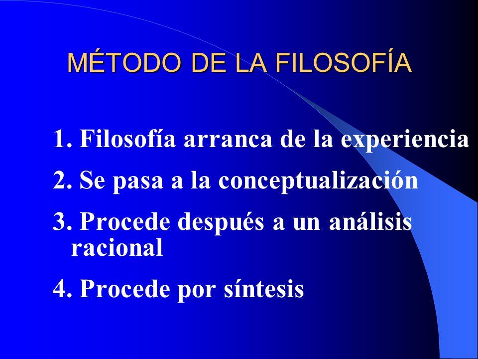 MÉTODO DE LA FILOSOFÍA 1. Filosofía arranca de la experiencia. 2. Se pasa a la conceptualización. 3. Procede después a un análisis racional.
