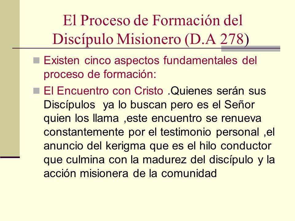 El Proceso de Formación del Discípulo Misionero (D.A 278)