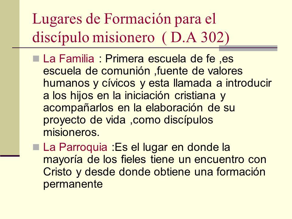 Lugares de Formación para el discípulo misionero ( D.A 302)