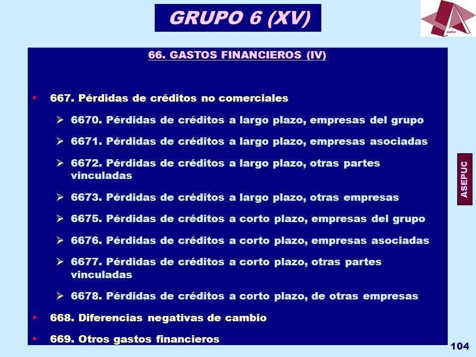 66. GASTOS FINANCIEROS (IV)