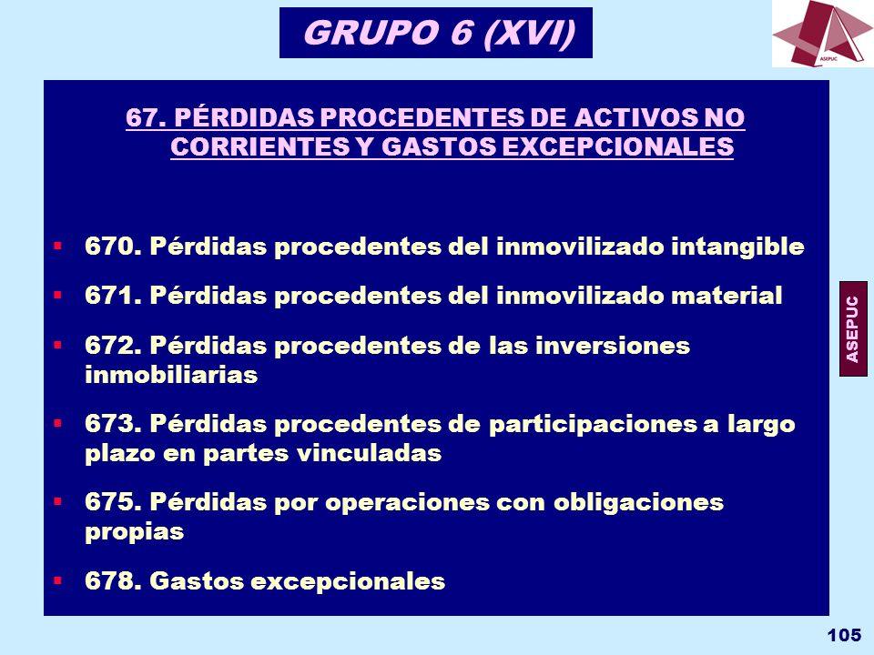 GRUPO 6 (XVI) 67. PÉRDIDAS PROCEDENTES DE ACTIVOS NO CORRIENTES Y GASTOS EXCEPCIONALES. 670. Pérdidas procedentes del inmovilizado intangible.