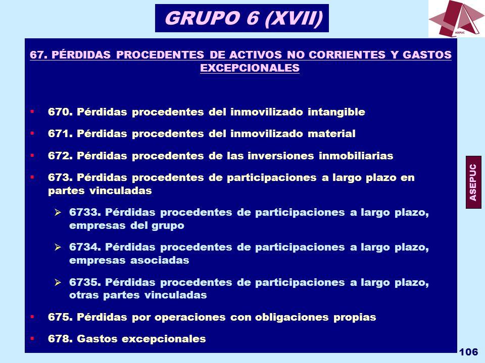 GRUPO 6 (XVII) 67. PÉRDIDAS PROCEDENTES DE ACTIVOS NO CORRIENTES Y GASTOS EXCEPCIONALES. 670. Pérdidas procedentes del inmovilizado intangible.