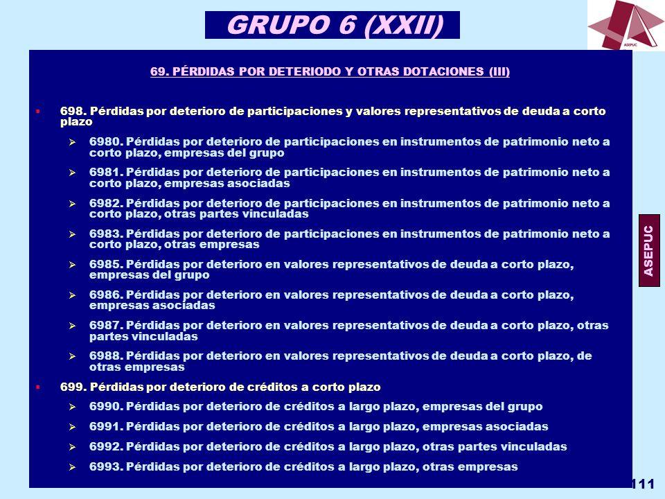 69. PÉRDIDAS POR DETERIODO Y OTRAS DOTACIONES (III)