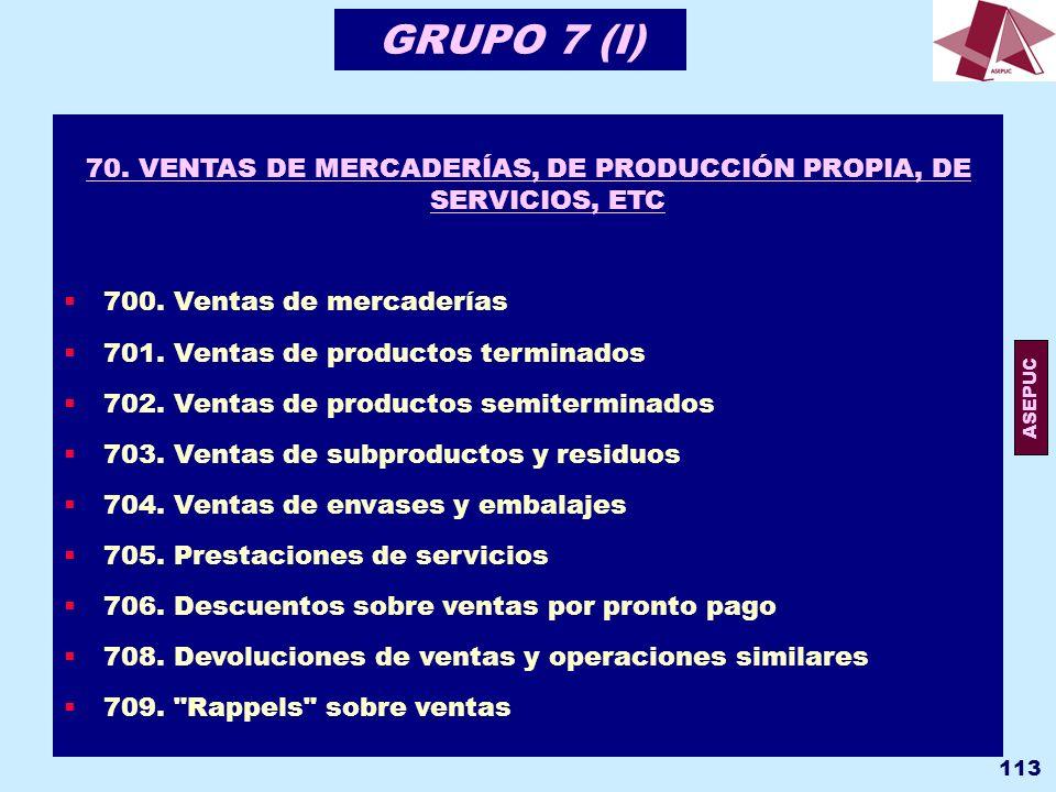 70. VENTAS DE MERCADERÍAS, DE PRODUCCIÓN PROPIA, DE SERVICIOS, ETC