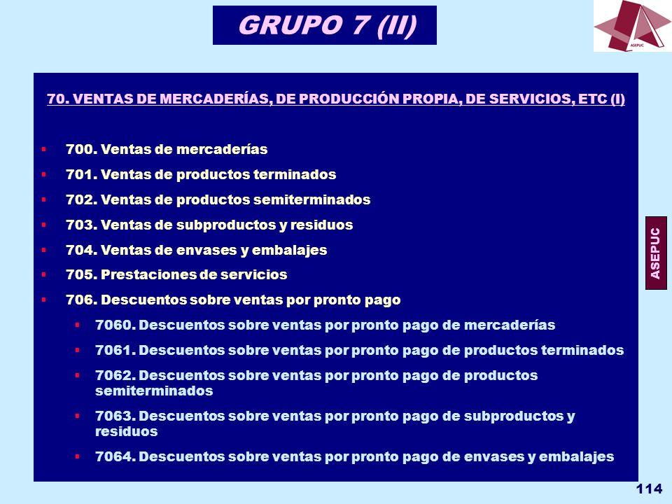 70. VENTAS DE MERCADERÍAS, DE PRODUCCIÓN PROPIA, DE SERVICIOS, ETC (I)