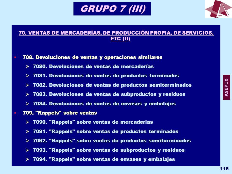 GRUPO 7 (III) 70. VENTAS DE MERCADERÍAS, DE PRODUCCIÓN PROPIA, DE SERVICIOS, ETC (II) 708. Devoluciones de ventas y operaciones similares.