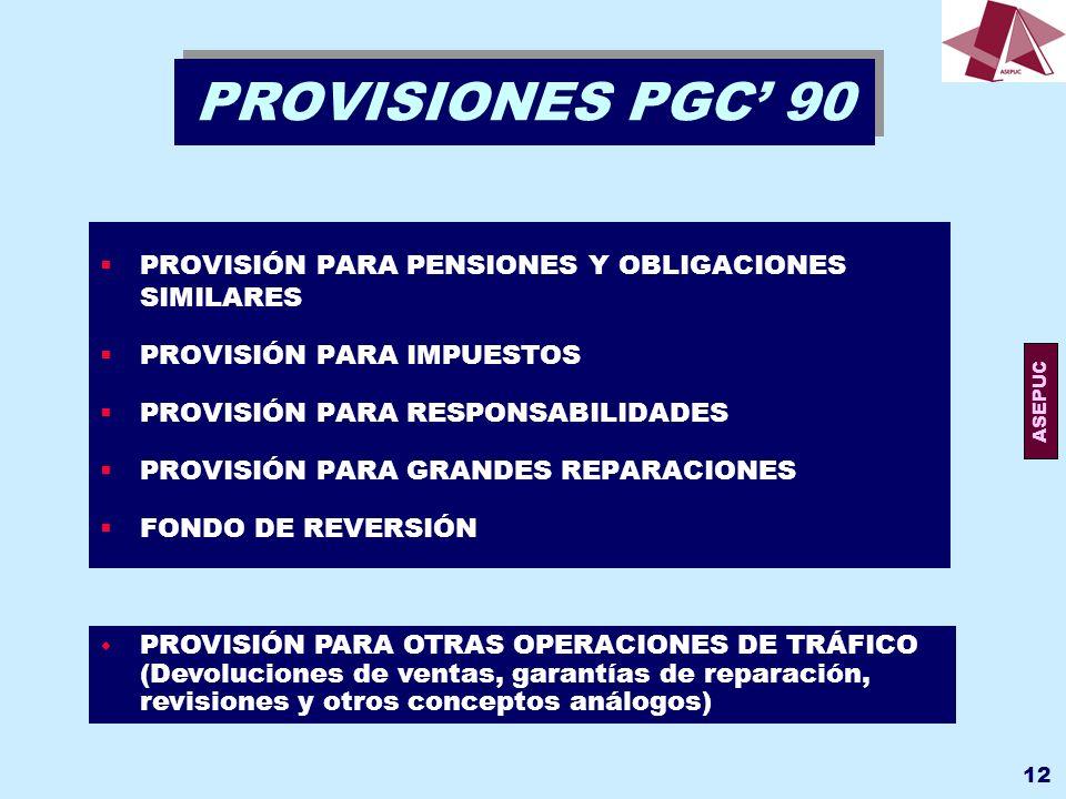 PROVISIONES PGC' 90 PROVISIÓN PARA PENSIONES Y OBLIGACIONES SIMILARES