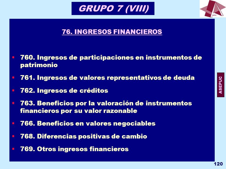 GRUPO 7 (VIII) 76. INGRESOS FINANCIEROS