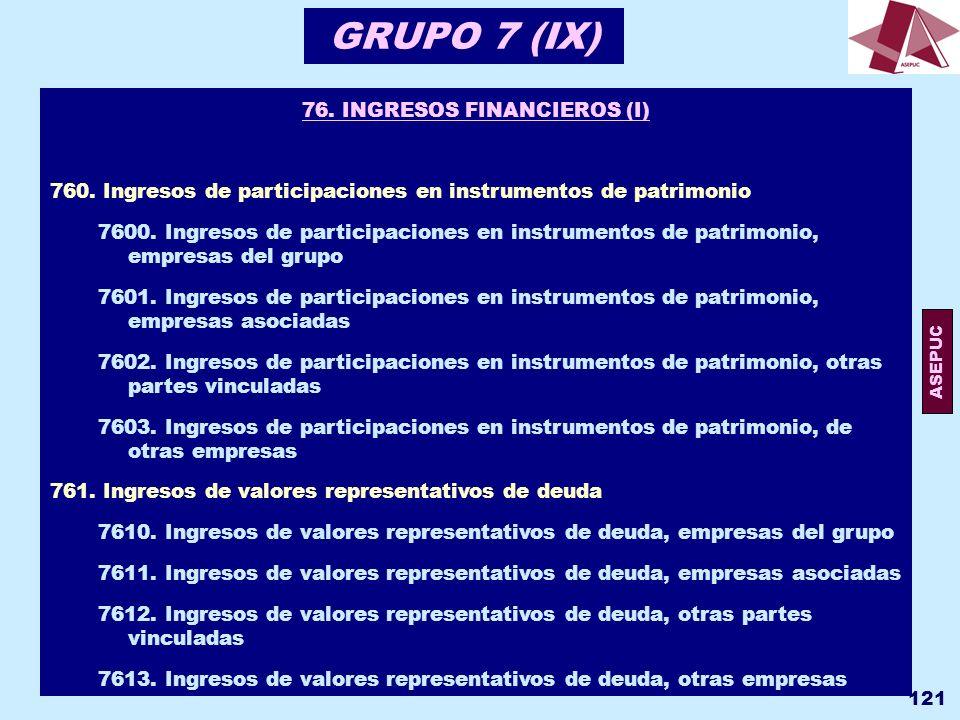 76. INGRESOS FINANCIEROS (I)