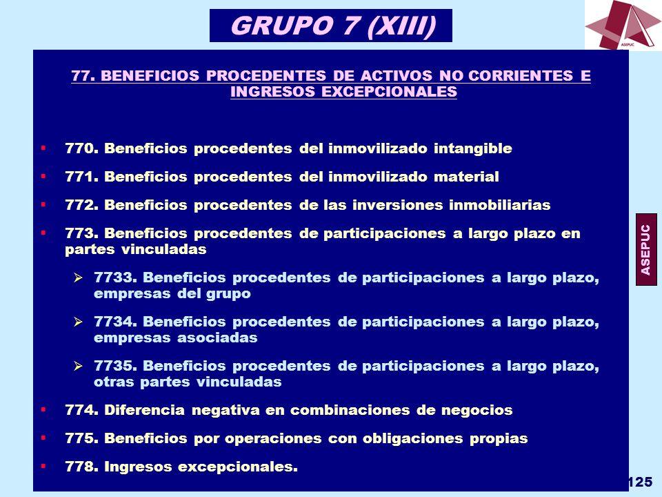 GRUPO 7 (XIII) 77. BENEFICIOS PROCEDENTES DE ACTIVOS NO CORRIENTES E INGRESOS EXCEPCIONALES.