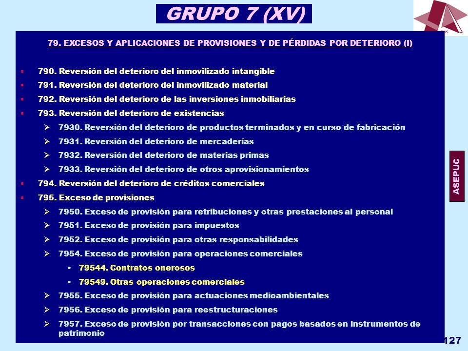 GRUPO 7 (XV) 79. EXCESOS Y APLICACIONES DE PROVISIONES Y DE PÉRDIDAS POR DETERIORO (I) 790. Reversión del deterioro del inmovilizado intangible.